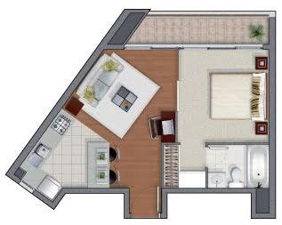 Planos de departamentos de un dormitorio mervin diecast for Distribucion apartamento 50 m2
