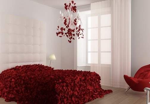 DORMITORIO CON PETALOS DE ROSAS via www.dormitorios.blogspot.com