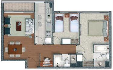 Planos de casas en 60m2 y 61m2 de 3 y 2 dormitorios for Piso 60 metros cuadrados 3 habitaciones