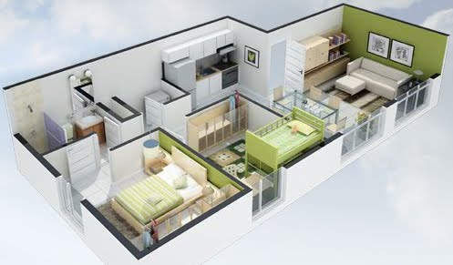 Planos 3d planos de casas gratis y departamentos en venta for Casas minimalistas 180m2