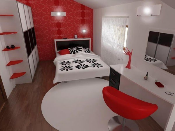 Decoracion Diseño: Bello dormitorio en 3d en blanco, negro y rojo ...