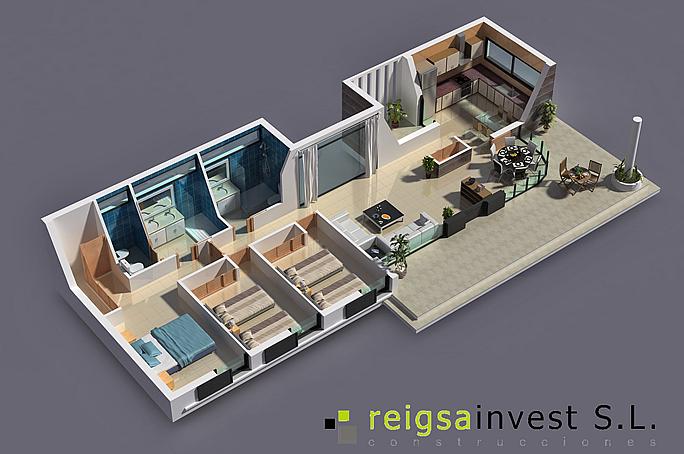 Plano 3d de casa de una sola planta planos de casas for Plano casa una planta