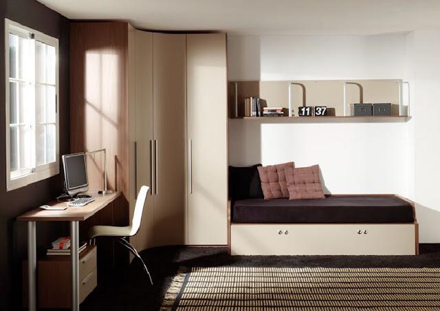 Dormitorio personal con closet curvo en la esquina