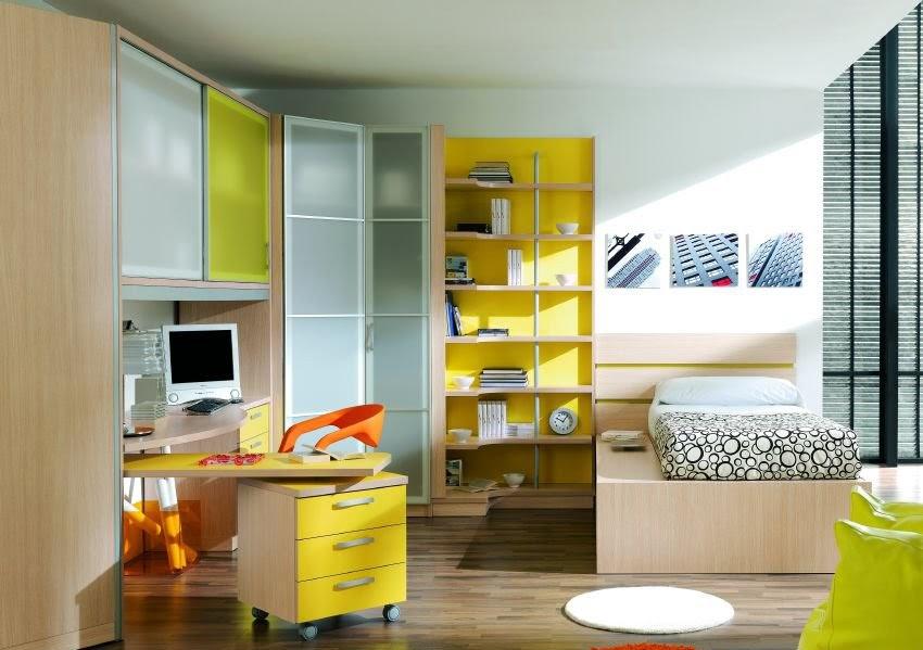 Decoracion dormitorios recamara juvenil en amarillo y for Muebles capitol