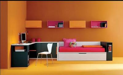Dormitorio juvenil color mandarina negro y fucsia