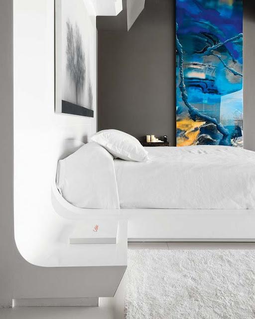 DORMITORIO MODERNO GRIS Y BLANCO by dormitorios.blogspot.com