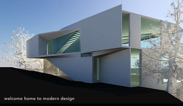 Fachada de casa minimalista con piscina en el ultimo piso for Casa moderna blanca con piscina