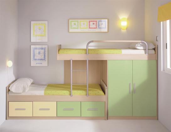 Dormitorio juvenil con literas colores crema y verde - Literas para ninos espacios pequenos ...