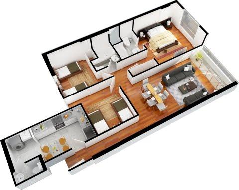 Departamentos de 3 dormitorios y 2 dormitorios planos 3d for Planos de apartamentos modernos
