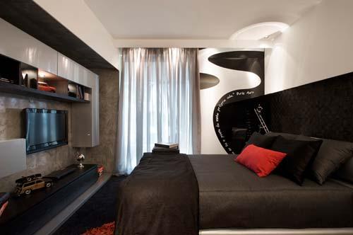 Dormitorio masculino en blanco y negro for Decoracion de cuartos para jovenes hombres