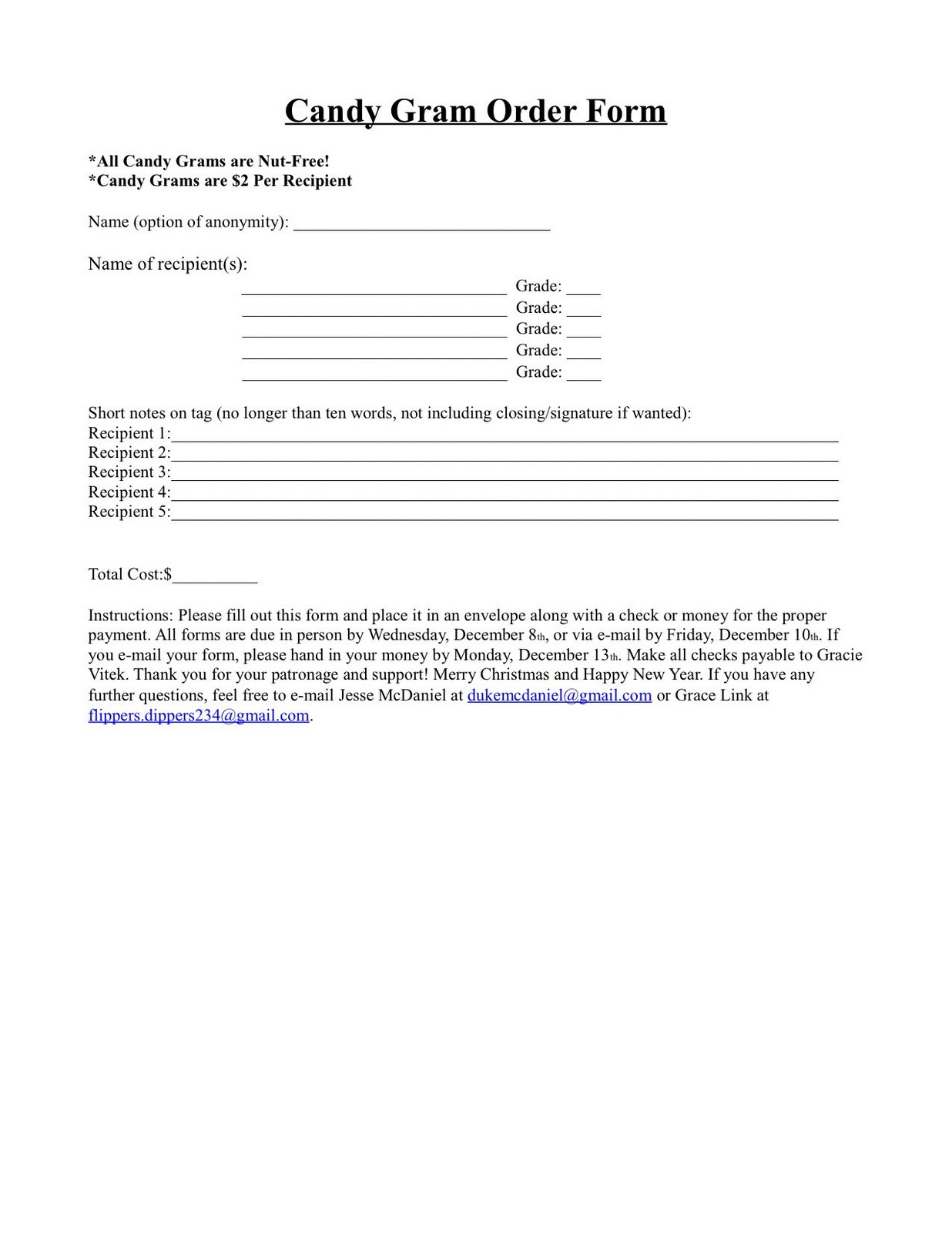 Candy Gram Order Form Template