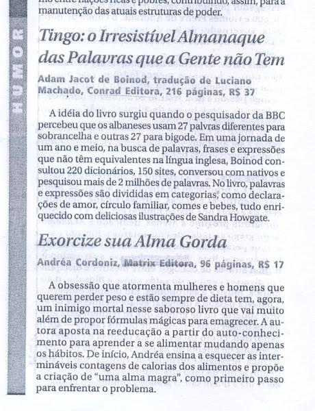 """Matéria sobre o meu, o nosso """"Exorcize Sua Alma Gorda"""" - Jornal do Commercio - 14 set 2007"""