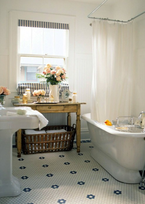 Shorely chic vintage style bathroom party for Vintage bathroom designs