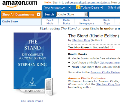 Stephen King's The Stand not enable Amazon Kindle Text to Speech feature