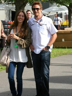 Jenson Button and his girlfriend Jessica Michibata