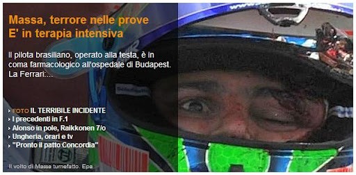 Felipe Massa injured his head F1 hungary GP