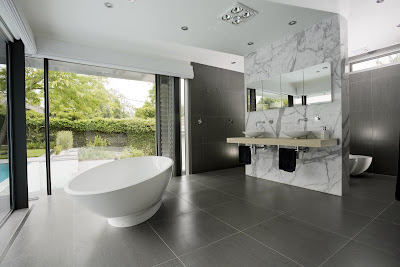 Relaxing White Gray Bathroom Design