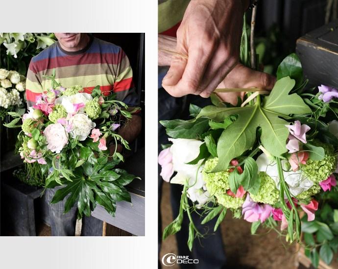 Fleurs d'Aralia autour d'un bouquet de fleur