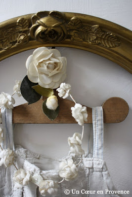 Old coat-hanger and bride wreath