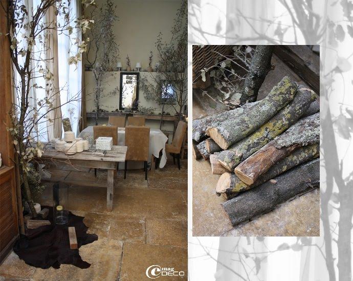 La Galerie, détails de bûches