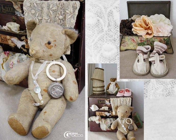 Vieil ours en peluche devant un casier de mercière en carton