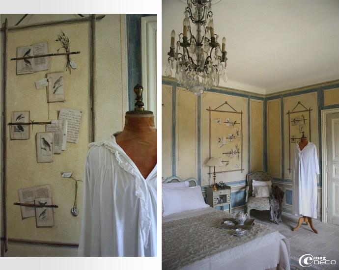 Détails de la Chambre aux Oiseaux, Château d'hôtes de prestige en Provence