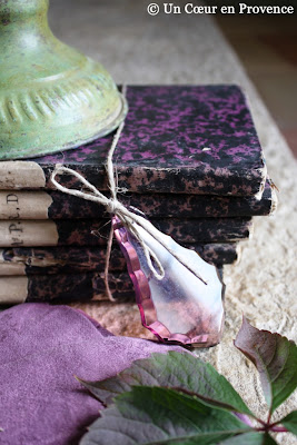 A tassel of purple glass and old books