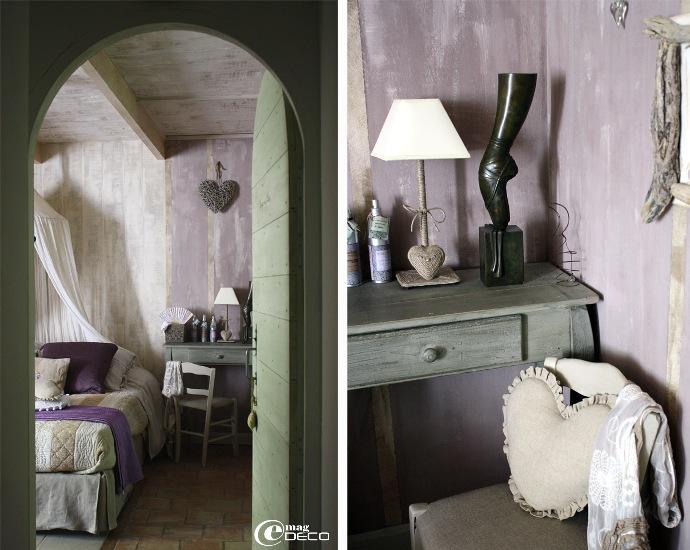 Chambre parentale aux couleurs mauve