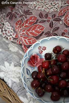 Cherries on an old Sarreguemine plate