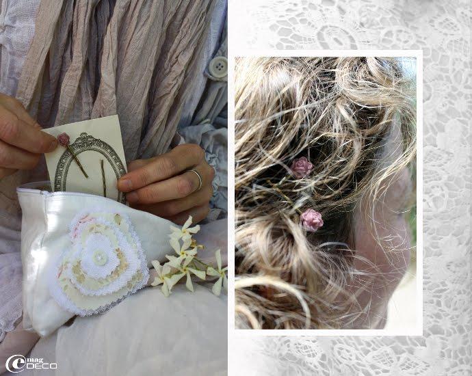 Petite trousse Cœur de Cerise et paires de barrettes fleurs roses