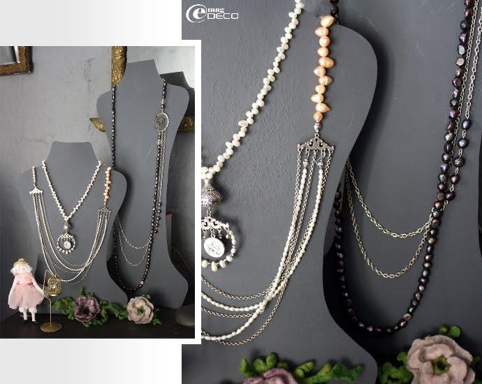 Colliers en métal et perles d'eau douce réalisés par Annie Aillet