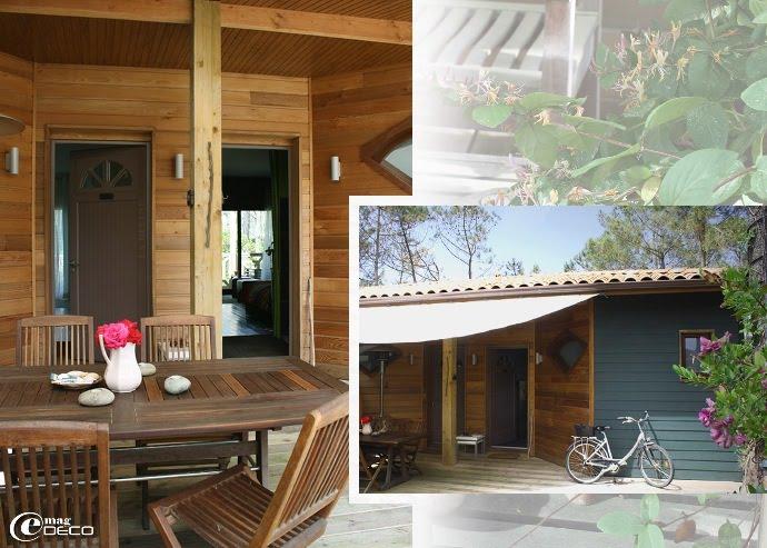 La terrasse en bois de la maison d'hôte Yamina Lodge au Cap Ferret