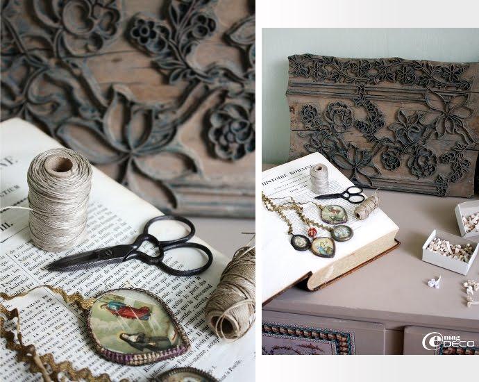 Reliquaires portés en médailles et planche de bois gravée pour l'impression des tissus et des papiers