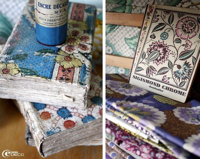 Détail de papier dominoté recouvrant de vieux livres
