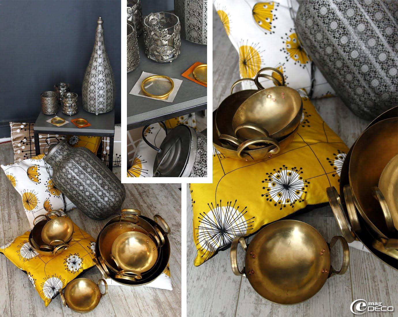 Bracelets 'Bollywood' recouverts de feuilles d'or des temples indiens, coussins en soie 'Miss Print' imprimés à la main, woks traditionnels thaïlandais