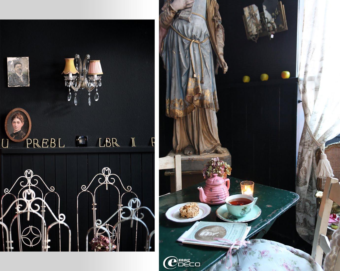 Chaises de jardin en métal et ambiance du salon de thé Ad Libitum