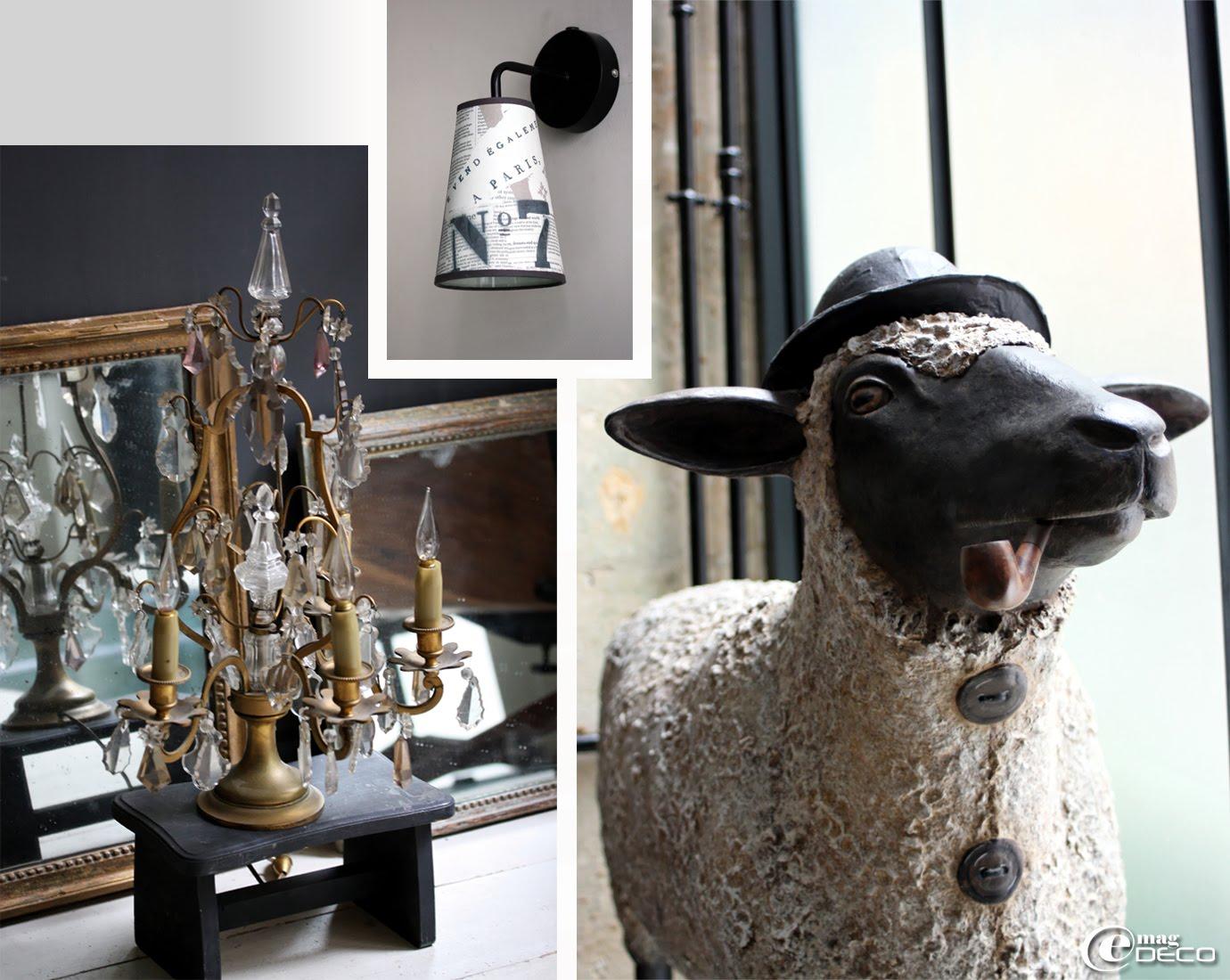 Girandole ancienne et mouton en papier mâché créé par Mélanie Bourlon