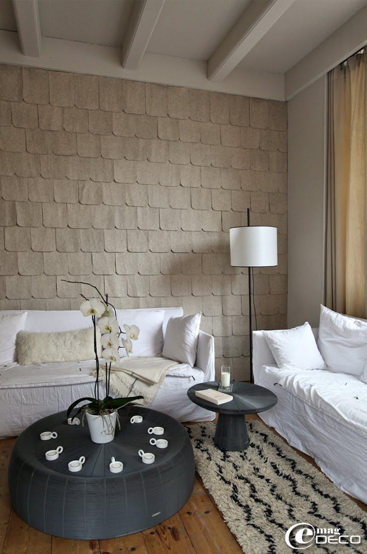 Sur une idée de Pierre Emmanuel Martin et Stéphane Garotin, des tuiles en feutre tapissent le mur d'un salon de l'hôtel La Féline Blanche