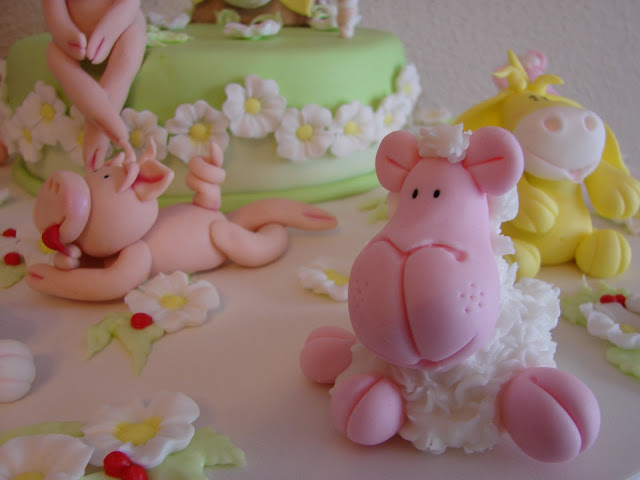 tarta decorada fondant animales
