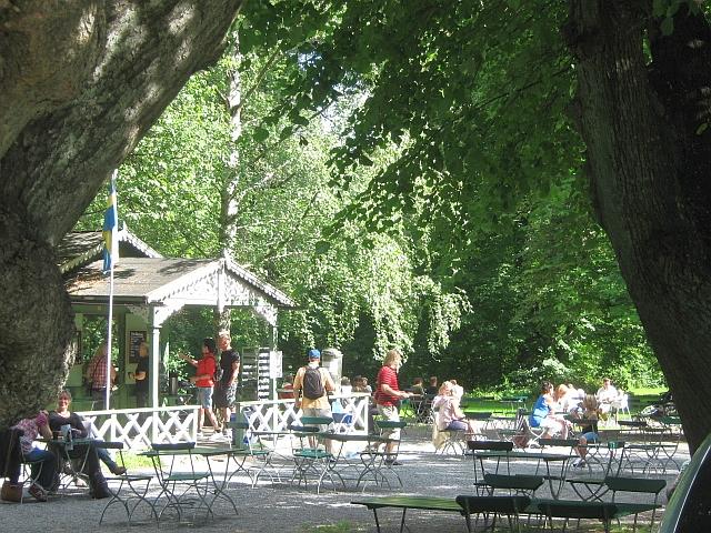 outside a cafe in stockholm park