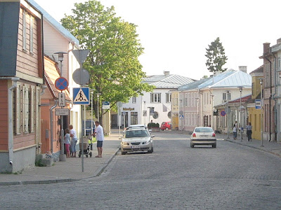 main street in small town in Estonia