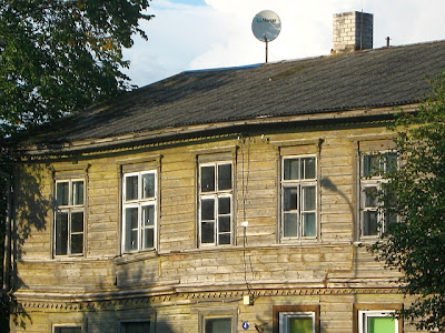 close up of exterior of traditional estonian house