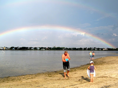 beachgoers ignoring the rainbow over the Haapsalu beach Estonia