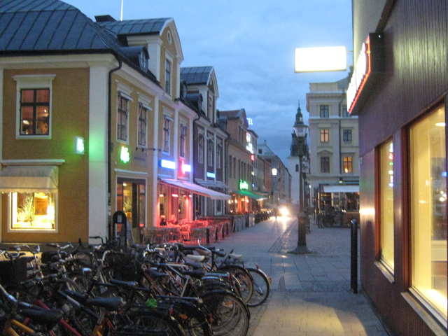 photo of old town of Linköping, sweden at dusk by Susan Wellington