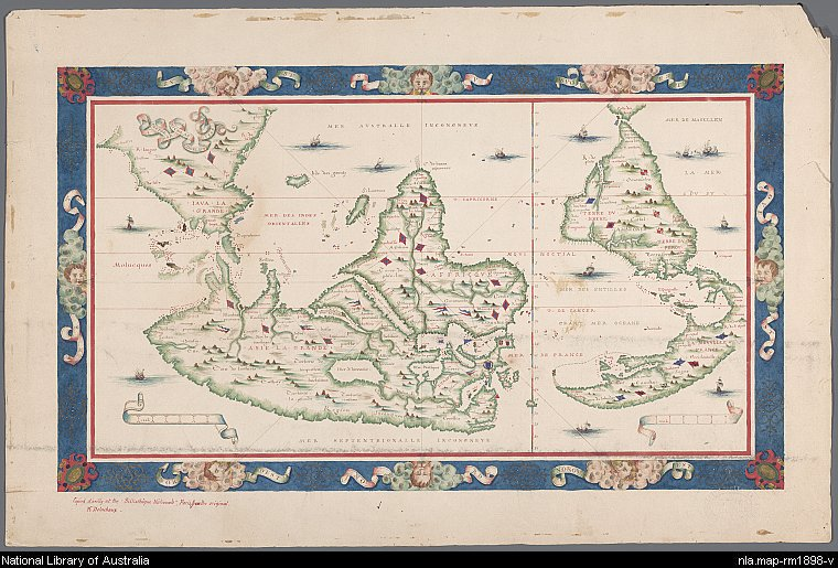 Old maps expeditions and explorations chinese discovery of australia a reproduction of a 1566 world map by nicolas desliens with south orientated at the top the top left corner has a large land mass that is claimed to be gumiabroncs Gallery