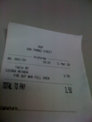 Receipt from bar: FOR GUY WHO FELL OVER