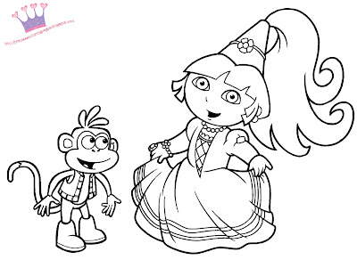 Dora Coloring on Dora The Explorer As A Princess  She Is Ready To Print And Color