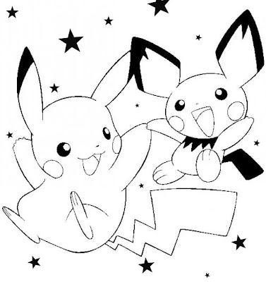 Colorea a Pikachu y Pichu de Pokemon