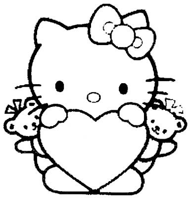 valentine printable coloring pages. Hello Kitty Coloring Pages For