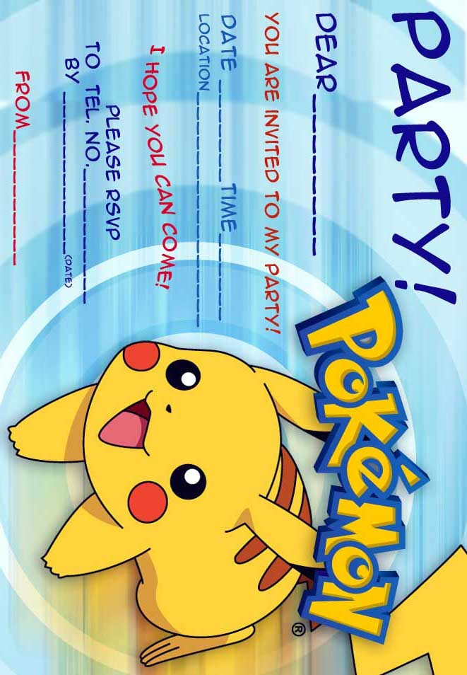 Dramatic image pertaining to pokemon party invitations free printable